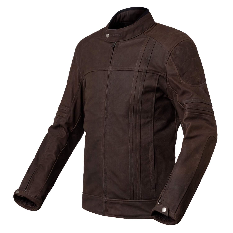 Chaqueta de moto de cuero marron Invictus Cronos