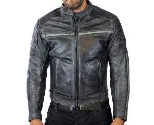 intage aged leather motorcycle jacket