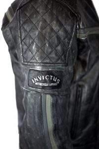 vintage aged leather motorcycle jacket