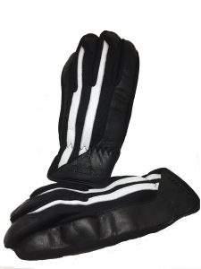 Guantes de moto de cuero negro estilo café racer