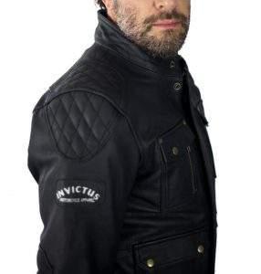 chaqueta de cuero de moto tres cuartos