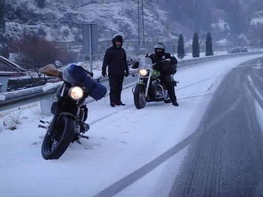 De ruta en moto en invierno