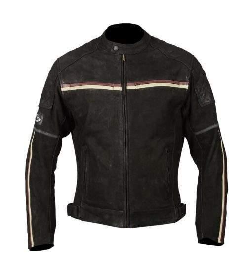 chaqueta de moto de cuero nubuk