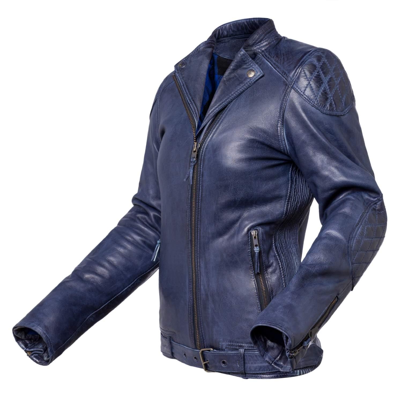 Chaqueta de moto de cuero para chica Invictus Electra Azul