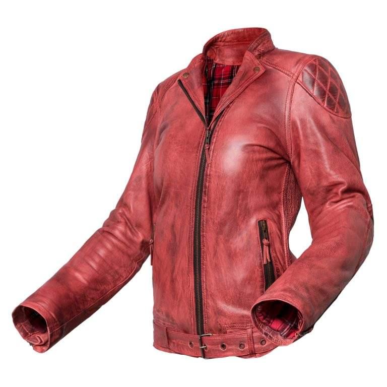 Chaqueta de moto de cuero para chica Invictus Electra Roja