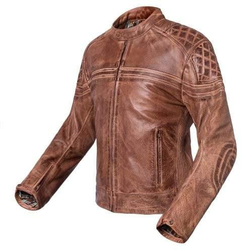 Chaqueta de moto de cuero marrón Invictus Eros