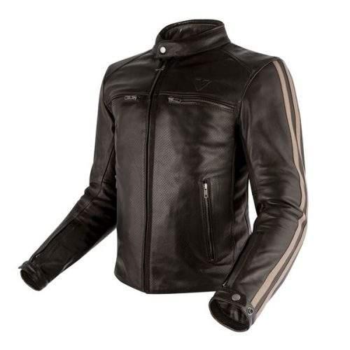 chaqueta de moto de cuero perforada marrón