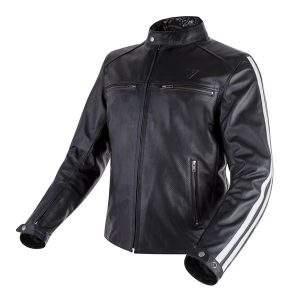 chaqueta de moto de cuero perforada negra